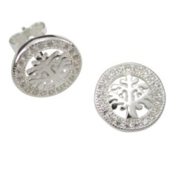 Sterling Silver 10mm White Cubic Zirconia Tree Of Life Stud Earrings