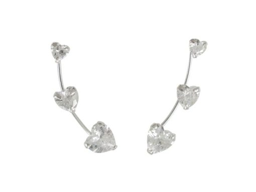 Sterling Silver 5x20mm White Heart Cubic Zirconia Up The Ear Earrings