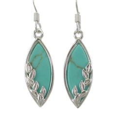 Sterling Silver 20x9mm Marquise Green Turquoise Drop Earrings