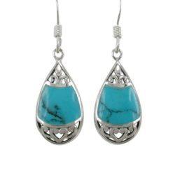 Sterling Silver 19x11mm Teardrop Blue Turquoise Bohemian Style Drop Earrings