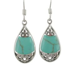 Sterling Silver 19x11mm Teardrop Green Turquoise Bohemian Style Drop Earrings