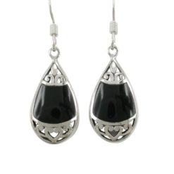 Sterling Silver 19x11mm Teardrop Black Onyx Bohemian Style Drop Earrings