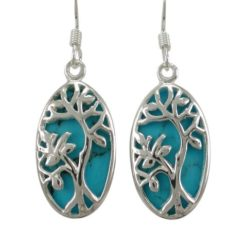 Sterling Silver 20x12mm Oval Blue Turquoise Tree Of Life Drop Earrings