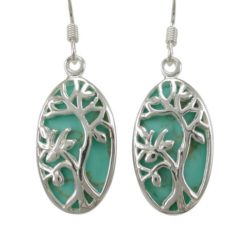 Sterling Silver 20x12mm Oval Green Turquoise Tree Of Life Drop Earrings
