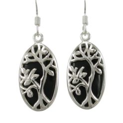 Sterling Silver 20x12mm Oval Black Onyx Tree Of Life Drop Earrings