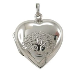 Sterling Silver 23mm Tree Of Life Heart Locket Pendant