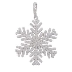 Sterling Silver 30x26mm White Cubic Zirconia Snowflake Pendant
