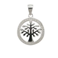 Sterling Silver 17mm White Cubic Zirconia Tree Of Life Pendant