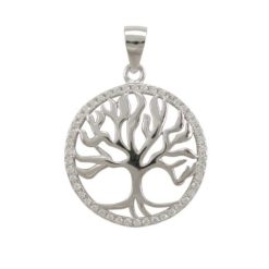 Sterling Silver 20mm Round White Cubic Zirconia Tree Of Life Pendant