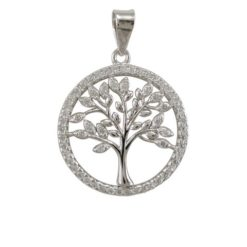 Sterling Silver 18mm Round White Cubic Zirconia Tree Of Life Pendant