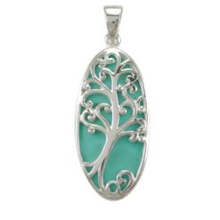 Sterling Silver 32x15mm Green Turquoise Tree Of Life Pendant