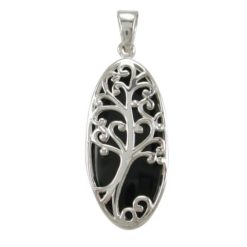 Sterling Silver 32x15mm Black Onyx Tree Of Life Pendant