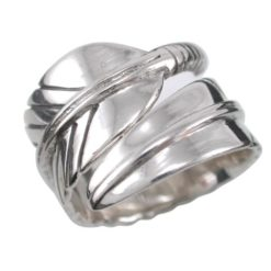Sterling Silver 14mm Wrap Around Feather Ring