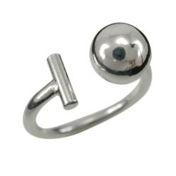 Sterling Silver 8mm Ball & Bar Ring