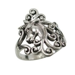 Sterling Silver 19mm Unicorn & Scrolls Ring
