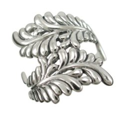Sterling Silver 20mm Crossover Fern Leaf Ring