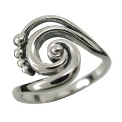 Sterling Silver 14mm Bohemian Style Spiral Ring