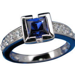 Sterling Silver 6mm Square Blue Cubic Zirconia Ring