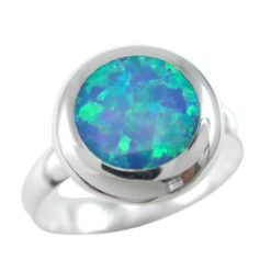 Sterling Silver 13mm Round Synthetic Opal Ring