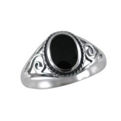 Sterling Silver 8mm Oval Black Onyx Scroll Ring
