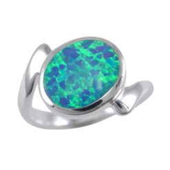 Sterling Silver 11mm Synthetic Opal Crossover Ring