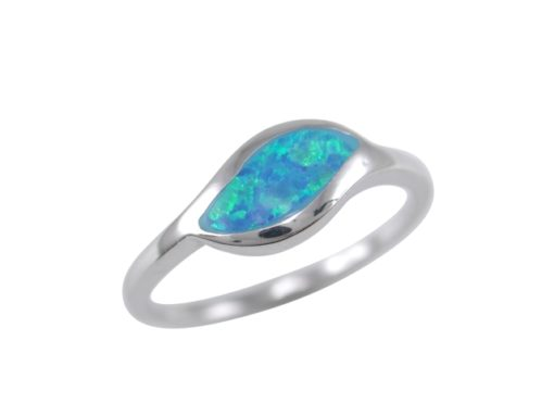 Sterling Silver 6mm Synthetic Opal Leaf Shape Ring