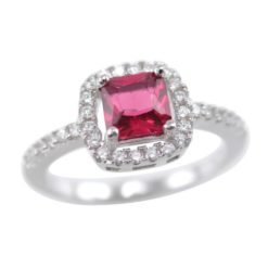 Sterling Silver 8mm Red Cubic Zirconia Cushion Cut Ring