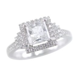Sterling Silver 8mm Square White Cubic Zirconia Ring