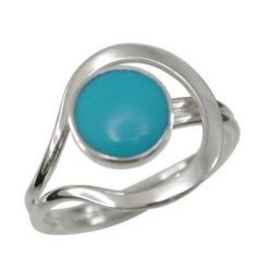 Sterling Silver 14mm Blue Turquoise Ring (mixed Sizes) Email For Available Sizes