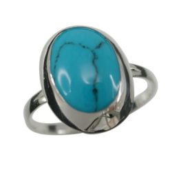 Sterling Silver 15mm Oval Blue Turquoise Ring (mixed Sizes) Email For Available Sizes