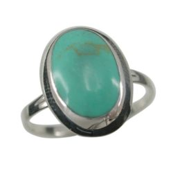 Sterling Silver 15mm Oval Green Turquoise Ring (mixed Sizes) Email For Available Sizes