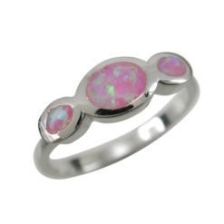 Sterling Silver 6mm Oval Pink Synthetic Opal Crossover Ring (mixed Size)