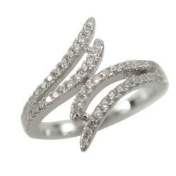 Sterling Silver 14mm White Cubic Zirconia Crossover Ring