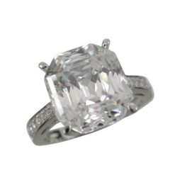 Sterling Silver 11mm White Cubic Zirconia Emerald Cut Ring