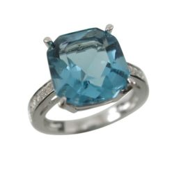 Sterling Silver 11mm London Blue Aqua Cubic Zirconia Emerald Cut Ring