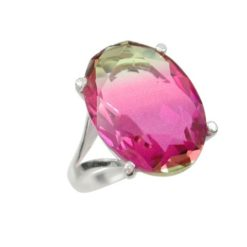 Sterling Silver 18mm Pink & Gold Coloured Oval Cubic Zirconia Ring (mixed Sizes) Email For Available Sizes