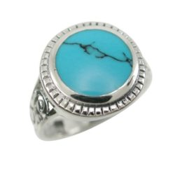 Sterling Silver 15mm Round Blue Turquoise Bohemian Style Ring (mixed Sizes) Email For Available Sizes