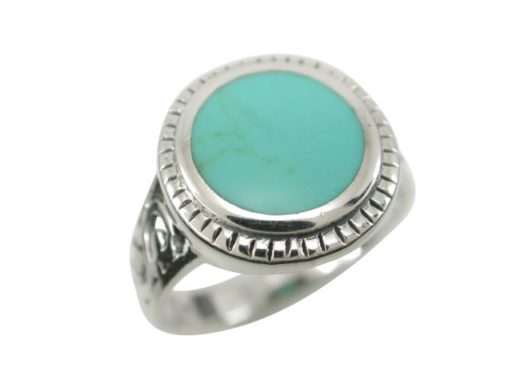 Sterling Silver 15mm Round Green Turquoise Bohemian Style Ring (mixed Sizes) Email For Available Sizes