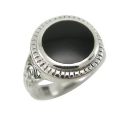 Sterling Silver 15mm Round Black Onyx Bohemian Style Ring (mixed Sizes) Email For Available Sizes