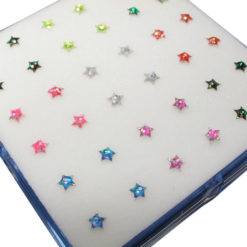 Sterling Silver Straight Nose Stud Star- Mixed Colour (each)