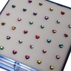 Sterling Silver Heart Nose Stud Bent-mixed Colours (each)