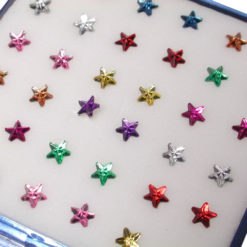 Sterling Silver Star Nose Stud Bent- Mixed Colours (each)