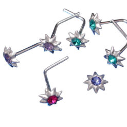 Sterling Silver 4mm Mixed Colour Crystal Nose Stud Bent (each)