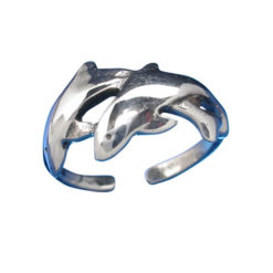 Sterling Silver 9mm Double Dolphin Toe Ring