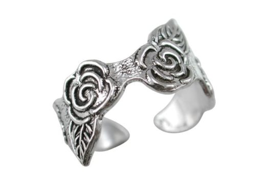Sterling Silver 9mm Roses Toe Ring