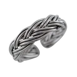 Sterling Silver 4mm Oxidised Plaited Toe Ring