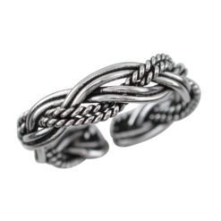 Sterling Silver 3.5mm Oxidised Plaited Toe Ring