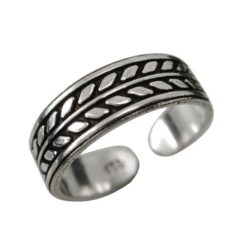 Sterling Silver 5mm Oxidised Leaf Pattern Toe Ring