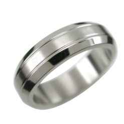 Stainless Steel 6mm Bevel Edge Matt Centre Ring