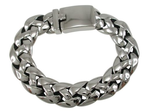 Stainless Steel 14mm Rounded Plait Link Bracelet
